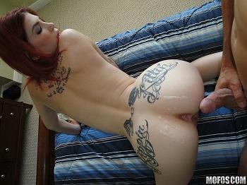 watch tattooed redhead gets banged in a hotel
