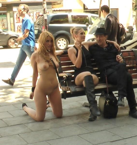 Steve Holmes, Hanna Montada, Mona Wales, Xavi Tralla – Fully Nude Bondage Slut Services Public Disgrace