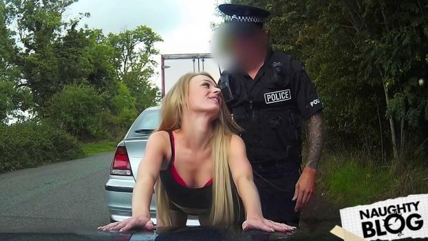Fake Cop – Truck Stop Delight: Tiny bodied slut fucked in police car