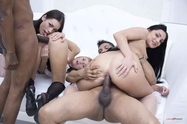 asha Panther, Alina Star, Arwen Gold – Sasha Panther, Alina Star and Arwen Gold interracial mini orgy with Dp and Dap