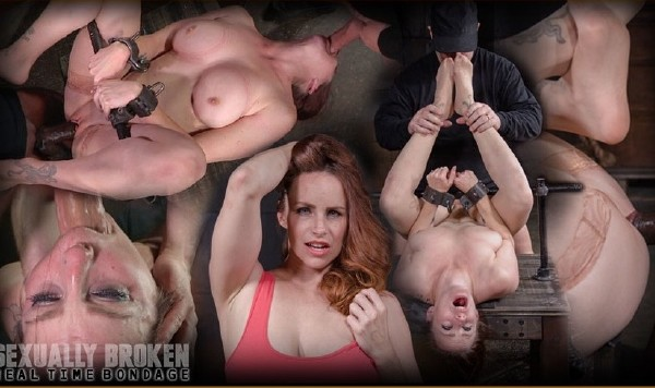 Bella Rossi – Busty Bella Rossi BaRS show grand finale with strict metal bondage and epic 3 cock dickdown!
