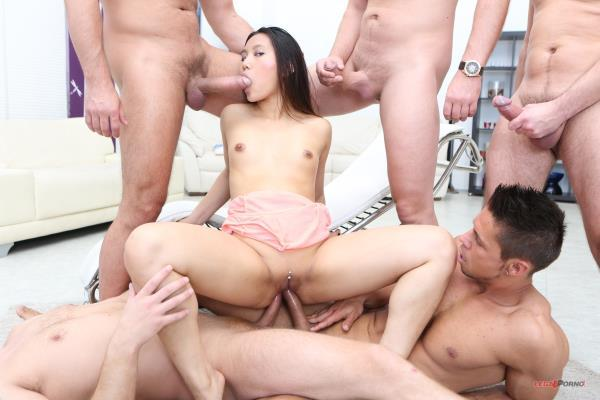 May Thai – May Thai 5on1 Facialized 11 time. Asian Slut is getting confident with more dicks GIO181