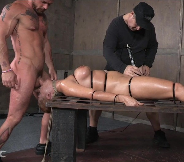 Holly Heart, Matt Williams, Sergeant Miles – Holly Heart Strapped to Bed Frame in Vicious Bondage and Brutally Face Fucked!