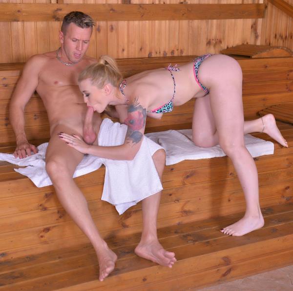 Misha Cross – Sexy Sauna Sucking – Slim Teen Swallows Large Dick