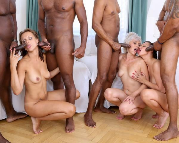 Kathy White, Eva Ann, Sofie – Kathy White, Eva Ann And Sofie In Kinky Milf Interracial Orgy 4 On 3 DP IV013
