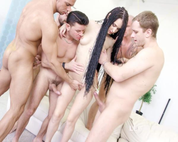 Angie Moon – 7 On 1 Facialized Angie Moon GangBang With Anal/DAP/TAP/Ball