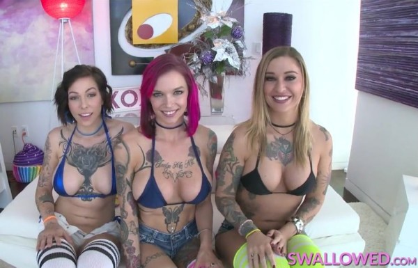 Anna Bell Peaks, Harlow Harrison, Kleio Valentien – Anna Bell, Kleio And Harlow This Tatted Trio Gets Sloppy