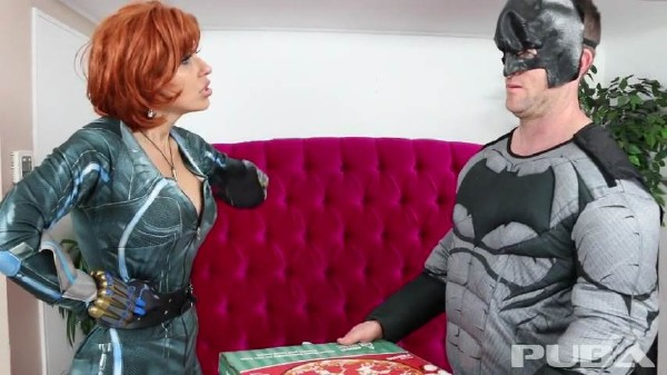 Savana Styles – Batman delivers Pizza to Black Widow with his special sausage