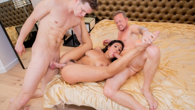 AUTUMN FALLS – BUSTY TEEN FIRST TIME WITH TWO STUDS